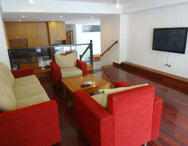 Spacious 2 bedroom serviced apartment with balcony for rent in Lac Long Quan street, Tay Ho district, Hanoi.