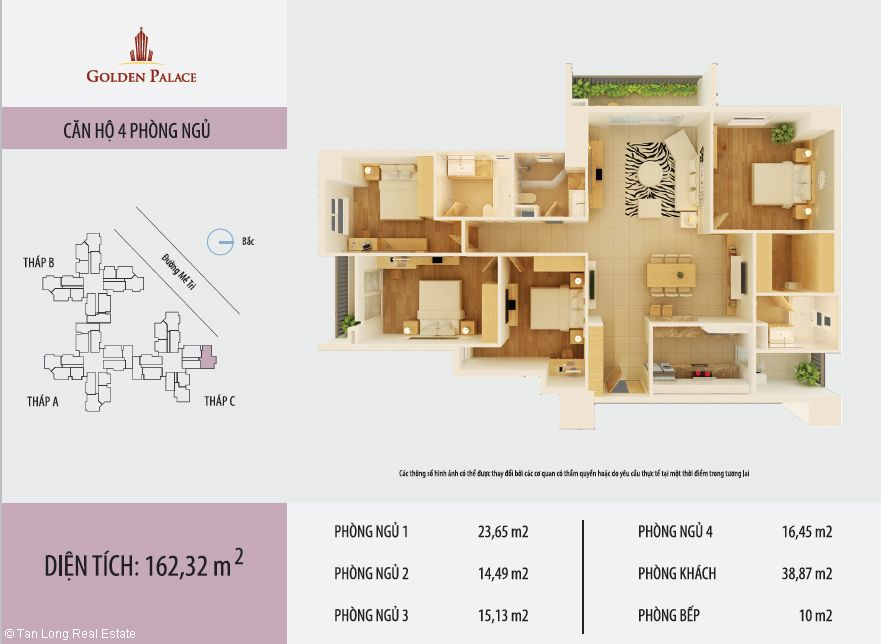 luxury 4 bedroom apartment for rent in golden palace me tri pham hung