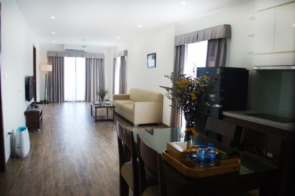 Serviced 2 bedroom apartment for rent on Kim Ma Thuong street, Ba Dinh
