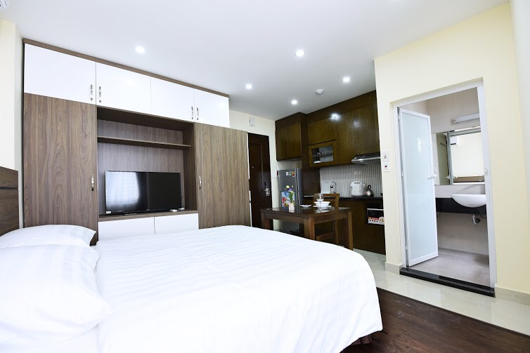 Super nice service apartment design studio for rent in Hoang Quoc Viet, Cau Giay district, Hanoi